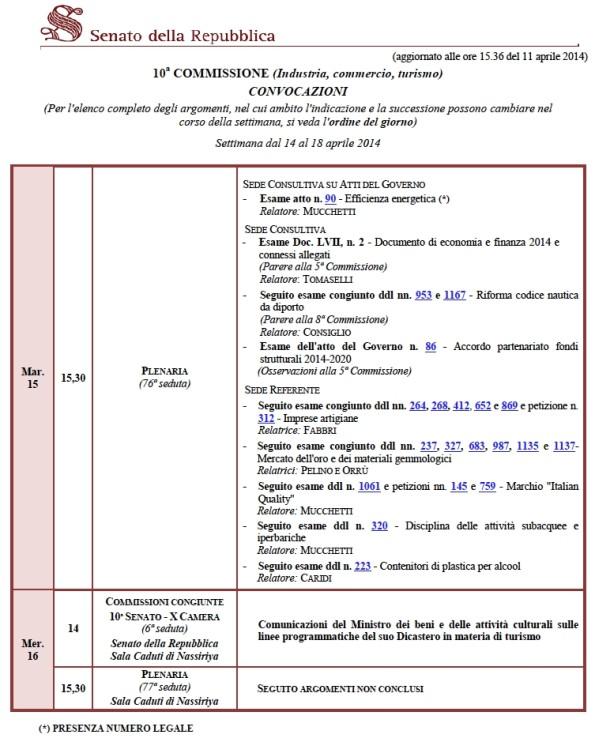 Calendario 10^ Commissione- 14-18Aprile